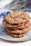 Stack of chocolate cookies Stock Photo
