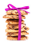 Stack of chocolate cookies tied with pink ribbon Royalty Free Stock Image