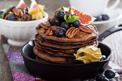 Stack of chocolate pancakes Stock Image