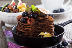 Stack of chocolate pancakes stock images