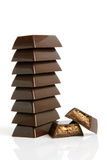 Stack of chocolate pieces Royalty Free Stock Images