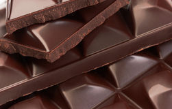Stack of chocolate pieces Royalty Free Stock Photo