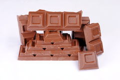 Stack of chocolate pieces Stock Photography