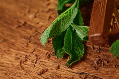 Stack of chocolate pieces with a leaf of mint on wooden background Stock Photography