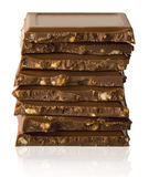Stack of chocolate pieces Stock Image