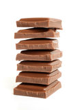 Stack of chocolate pieces Royalty Free Stock Image