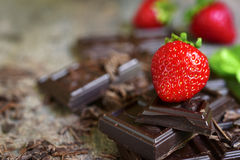 Stack of chocolate slices with fresh ripe strawberry. Royalty Free Stock Photo