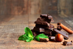 Stack of chocolate slices with mint leaf,hazelnut and cinnamon. Royalty Free Stock Images