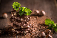 Stack of chocolate slices Royalty Free Stock Image