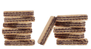 Stack of Chocolate wafer isolated Royalty Free Stock Photos