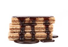 Stack of chocolate wafers sauced. Royalty Free Stock Photo