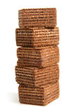 Stack of chocolate wafers Stock Photo