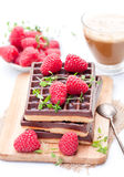 Stack of chocolate waffles with fresh raspberry and cup of coff. Stack  of chocolate waffles with fresh raspberry and cup of coffee Stock Photography