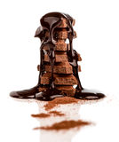 Stack of chocolated covered with chocolate syrup Stock Images