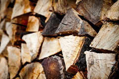 Stack of chopped fire wood Stock Images