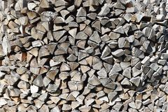 Stack of chopped firewood. As abstract textured background Stock Images