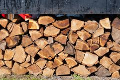 Stack of chopped firewoods. Prepared for winter Stock Image