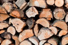 Stack of chopped firewoods prepared for winter. Background Royalty Free Stock Photography