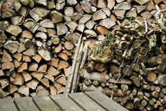Stack of chopped wood-logs Stock Photography