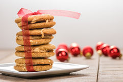 Stack of Christmas Cookies tied with red ribbon Stock Image