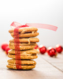 Stack of Christmas Cookies tied with red ribbon Stock Photography