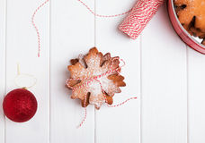 Stack of Christmas cookies on white table Stock Photo