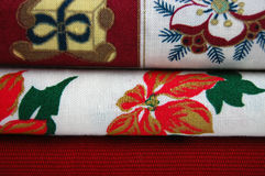 Stack of Christmas Fabrics Stock Photos