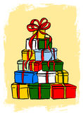 Stack of Christmas gifts Royalty Free Stock Photos