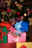 Stack of christmas presents. Stack of beautiful christmas presents, under the christmas tree Royalty Free Stock Images