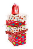 Stack of Christmas presents boxes. Isolated on white background Royalty Free Stock Photography