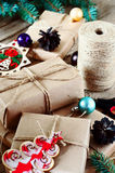 Stack of Christmas presents closeup. Top view Royalty Free Stock Images