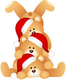 Stack of Christmas teddy Bears Royalty Free Stock Image