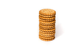 A stack of cicle biscuits puff sandwich cream isolated on white stock image