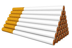 Stack of cigarettes on the white Stock Photos