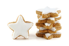 Stack of cinnamon stars, a single one standing, cookies for chri Royalty Free Stock Images