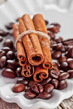 Stack of cinnamon sticks and coffee beans Stock Photos