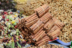 Stack of cinnamon sticks on the spice market in Istanbul, royalty free stock images