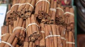 Stack of cinnamon in Turkish bazar stock video footage