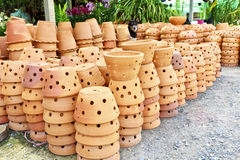 Stack of clay flowerpot Royalty Free Stock Images