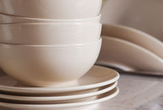 Stack of clean cookware. In kitchen stock image