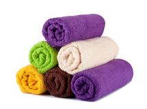 Stack of clean fresh towels Royalty Free Stock Photos