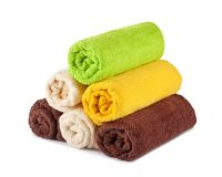Stack of clean fresh towels isolated Royalty Free Stock Photos