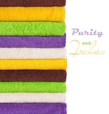Stack of clean fresh towels isolated Royalty Free Stock Photography