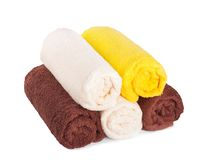 Stack of clean fresh towels isolated Royalty Free Stock Image