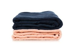Stack of clean soft towels on white background - Image stock image
