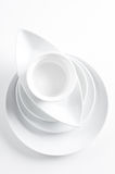 Stack of clean white dishes Royalty Free Stock Photos