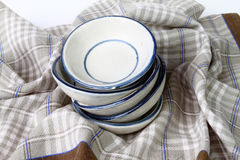 A stack of clean white dishes Royalty Free Stock Images