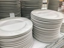 Stack of Cleaned Dishes. At the shop Stock Images