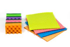 A stack of cleaning sponges, cellulose sponge cloth isolated on the white background.  stock image