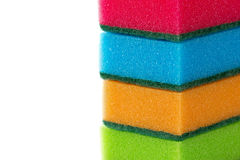 Stack of cleaning sponges isolated Stock Photography